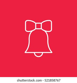 bell ring doorbell hand bell ribbon bow outline thin line vector icon white on red background