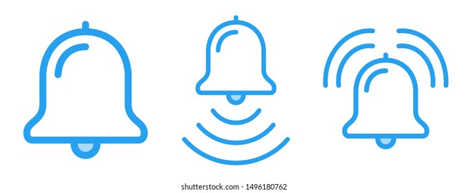 Bell ring icons vector line art illustrations