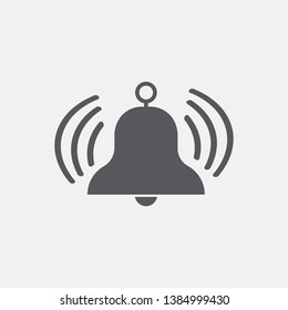 Bell ring vector icon solid grey