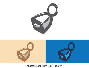 Bell sheep cow flat logo vector