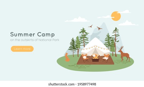 Bell tent with terrace, fire pit and lounge chairs. Concept of summer camp, glamping in forest. Mountains on background, wild animals fox and deer walking in parkland. Vacation, recreation banner.