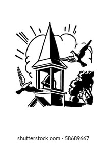 Bell Tower - Church Steeple - Retro Clip Art