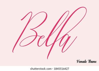 Bella-Female Name Calligraphy Cursive Dork Pink Color Text on Light Pink Background