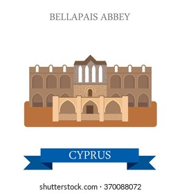 Bellapais Abbey in Northern Cyprus. Flat cartoon style historic sight showplace attraction web site vector illustration. World countries cities vacation travel sightseeing collection.