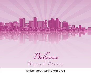 Bellevue skyline in purple radiant orchid in editable vector file