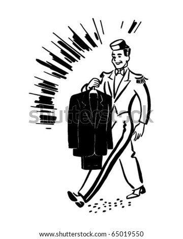 Bellhop Clean Suit Retro Clipart Illustration Stock Vector Royalty