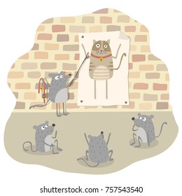 Belling the Cat. The mice plan to place the bell on the cat. Vector cartoon illustration for the story or fairy tale book. Aesop's Fable.