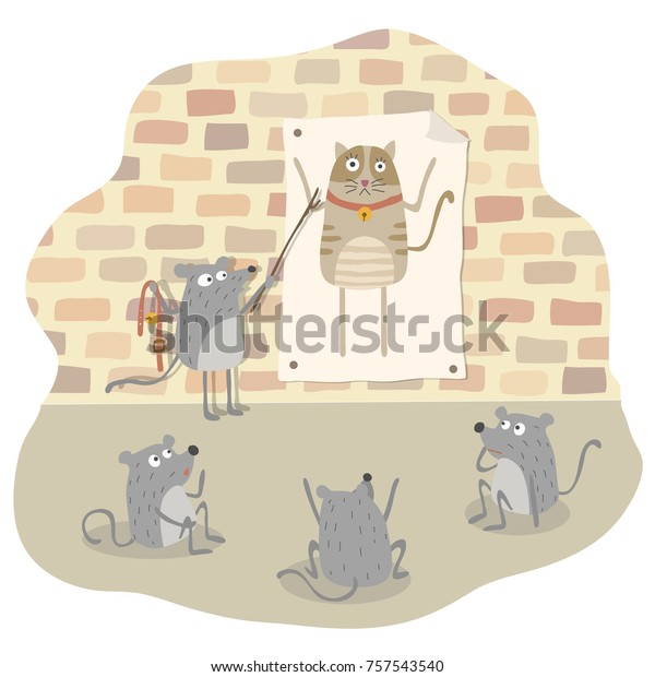 Belling Cat Mice Plan Place Bell Stock Vector (Royalty Free