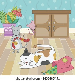 Belling the cat story vector illustration. Mouse trying to bell the cat cartoon. Mouse and cat vector cartoon.