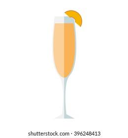 Bellini peach cocktail. Flat design.