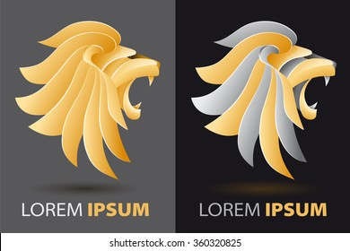bellowing lion head fancy, luxurious company logo concept in origami design style