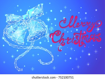 bells low poly design , line illustration on blue background merry Christmas lettering,vector