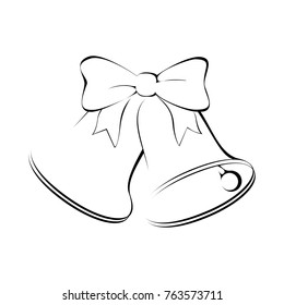 Bells with ribbon icon. Christmas bells isolated sign on white background. Vector illustration