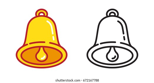 Bells ringing bell icon vector illustration doodle cartoon