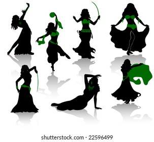 Belly dance. Silhouettes of beauty dancers.