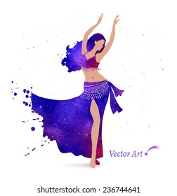 Belly dancer with space pattern on dress. Watercolor art. Vector illustration.