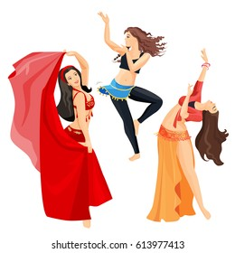 Belly dancers set of girls isolated on white background. Professional long haired caucasian woman dancing with open torso in oriental dresses. Vector illustration of performers with excellent body