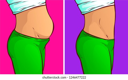 Belly fat, before-after. Vector illustration