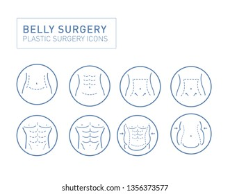 Belly Surgery Icon Sets Vectors