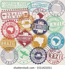 Belo Horizonte Brazil Set of Stamps. Travel Stamp. Made In Product. Design Seals Old Style Insignia.