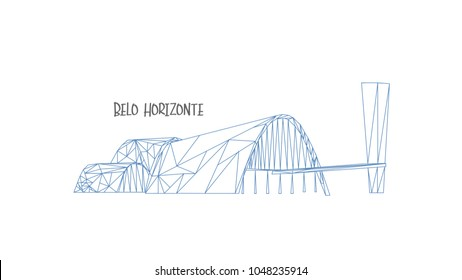 Belo Horizonte church at Pampulha in vector. Tourism point. Polygonal design.