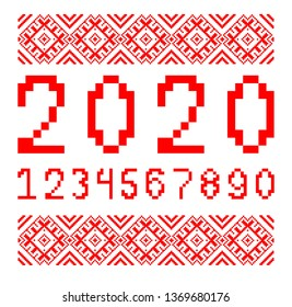 Belorussian traditional ornament. Slavic embroidery with red threads. The numbers for embroidery crosses and design in the Slavic style.