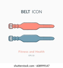 Belt for back protection. Sports equipment vector icon. Modern pictogram for web graphics.