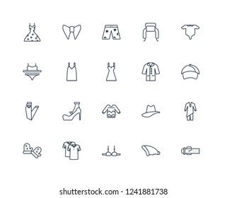 Belt, Beanie, Bra, Polo Shirt, Mittens, Baby Grow, Coat, Sweater, Jeans, Camisole, swim shorts outline vector icons from 20 set