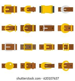 Belt buckles icons set. Flat illustration of belt buckles vector icons set isolated on white background