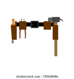 Belt ofplumber isolated. girdle of locksmith master. Instruments. Vector illustration