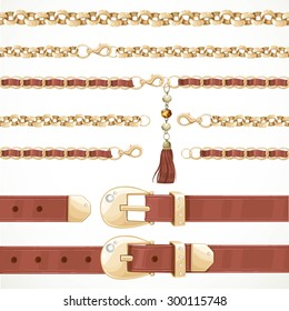 Belt on chain with a tassel, leather buttoned and unbuttoned, seamless, isolated on white background