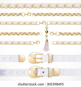 Belt on chain with a tassel, white buttoned and unbuttoned, seamless