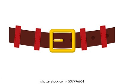 Belt Santa Claus isolated. strap with gold buckle for Christmas grandfather. Accessory new year clothes