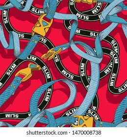 Belt seamless pattern with plastic clasp. Trendy sport textile design.