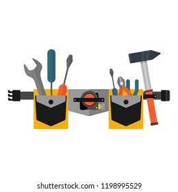 Belt with tools. Conceptual image of tools for repair, construction and builder. Concept image of work wear. Cartoon flat vector illustration. Objects isolated on a background.