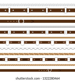Belts patterns. Leather belts, metal chains and rope cords horizontal seamless items on white, vector elegant accessories strap tiles