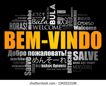 Bem-Vindo (Welcome in Portuguese) word cloud in different languages, conceptual background