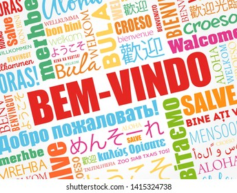 Bem-Vindo (Welcome in Portuguese) word cloud in different languages