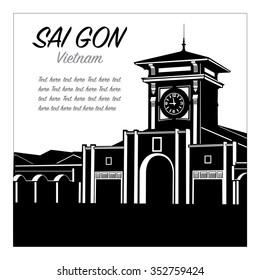 Ben thanh market - saigon vector