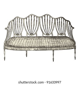 """Bench 18th century style - Vintage engraved illustration - """"Le Mobilier"""" Ed.Edouard Rouveyre  in 1915 France"""
