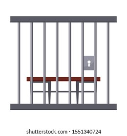 Bench behind prison bars flat vector illustration. Empty convict seat front view, courtroom cell with no people. Courthouse room element. Crime and punishment, judicial system, imprisonment symbol