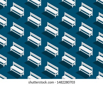 Bench chair 3D isometric seamless pattern, Furniture concept poster and banner design illustration isolated on blue background with copy space; vector eps 10