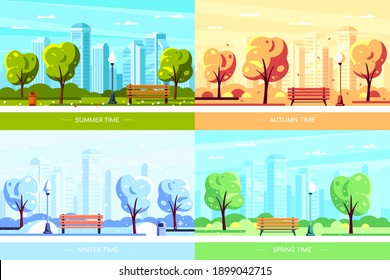 Bench in city park with tree and big city on background. Set of seasonal vectors in flat style.
