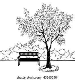 Bench in city park. Trees and plants. Landscape with bench. Doodle landscape vector illustration