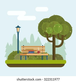 Bench with cup and books under a tree in the park. Flat style vector illustration.