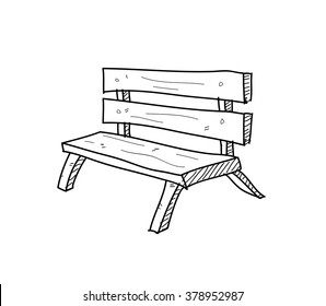 Bench Doodle, a hand drawn vector doodle illustration of a bench.