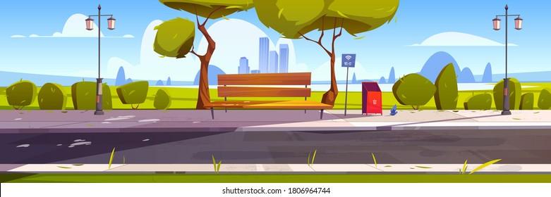 公園内に無料のWiFiを持つベンチ、ホットスポットのパブリックアクセスゾーンを持つ屋外の場所、ワイヤレスインターネット。 緑の木、ごみ箱、街灯と夏の街並み。 漫画のベクターイラスト