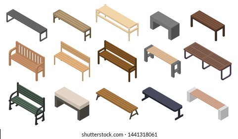 Bench icons set. Isometric set of bench vector icons for web design isolated on white background