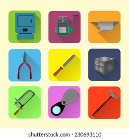 Bench jeweler flat style tools icon set fully editable vector