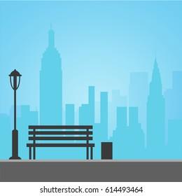 Bench on the Skyline City background. Flat design vector Illustration.